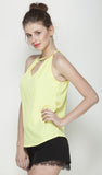Yellow Embellished neck halter top with golden spade chain with crystals