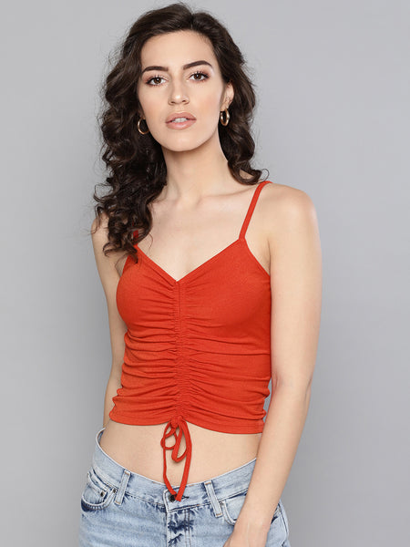 Red Rouched Sleeveless Crop Top1