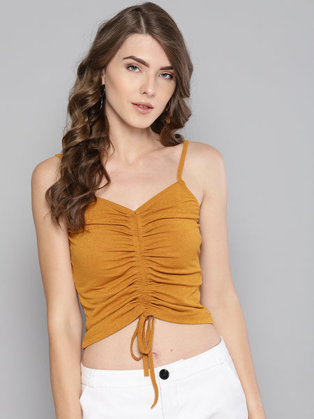 Mustard Rouched Sleeveless Crop Top1