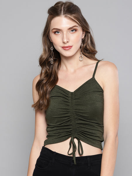 Olive Rouched Sleeveless Crop Top1