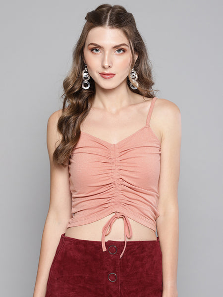 Salmon Rouched Sleeveless Crop Top1