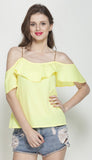 Yellow Layered Bardot top with Rose gold chain shoulder strap