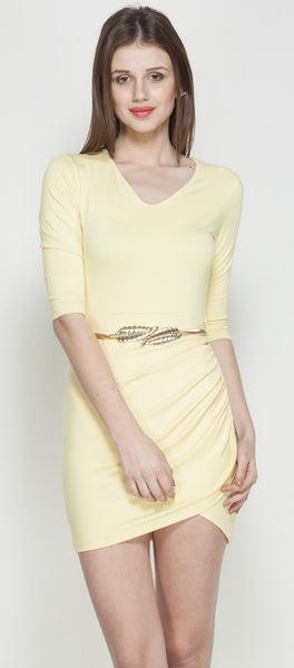 Yellow Tulip Dress With Golden Goddess Belt