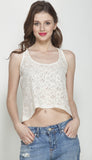 Beige Lace Tank Top with zipper opening upwards at back