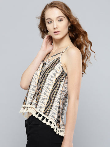 Beige Giraffe Print Boho Swing Top with Lace Hem1
