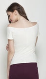White Bardot top in Jacquard Knit fabric