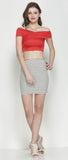 Red Bandage Bardot Crop Top in Scuba Knit Fabric2