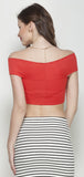 Red Bandage Bardot Crop Top in Scuba Knit Fabric4