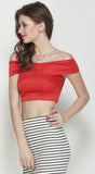 Red Bandage Bardot Crop Top in Scuba Knit Fabric3