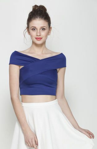 Blue Bandage Bardot Crop Top in Scuba Knit Fabric1