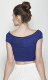 Blue Bandage Bardot Crop Top in Scuba Knit Fabric