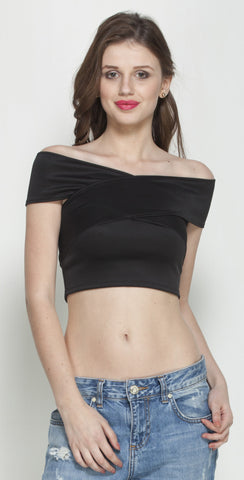 Black Bandage Bardot Crop Top in Scuba Knit Fabric