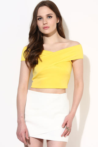 Yellow Bandage Bardot Crop Top1