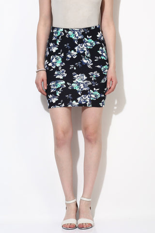 Turquoise Floral Print Bodycon Skirt