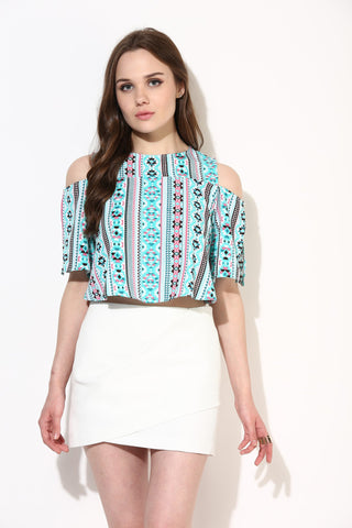 Turquoise Aztec Cold Shoulder Slit Sleeve Crop Top