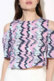 Multi Water Color Print Cold Shoulder Slit Sleeve Crop Top6