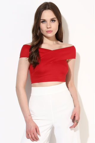 Cherry Red Bandage Bardot Crop Top1
