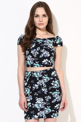 Turquoise Floral Print Bodycon Bandage Bardot Co-ordinate Dress