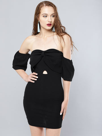 Black Cutout Bodycon Bow Bardot Dress1