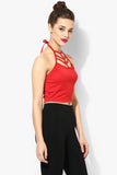 Red Cage Halter Crop Top5