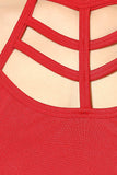 Red Cage Halter Crop Top6