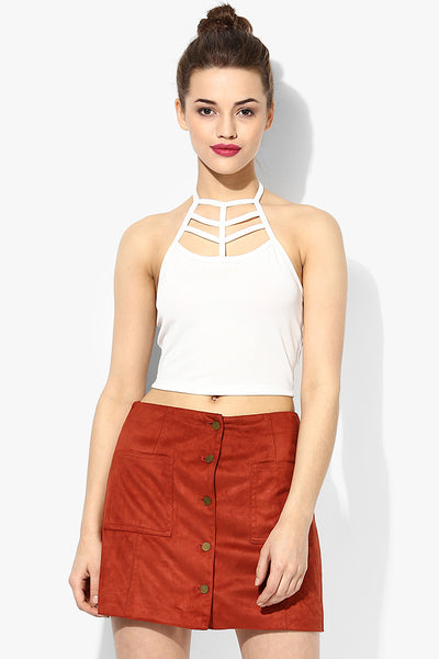 White Cage Halter Crop Top