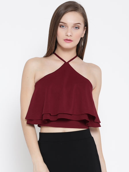 Maroon Halter Frilled Top