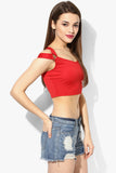Red Metal Detail Crop Top5