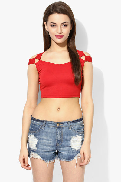 Red Metal Detail Crop Top