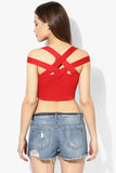 Red Metal Detail Crop Top3