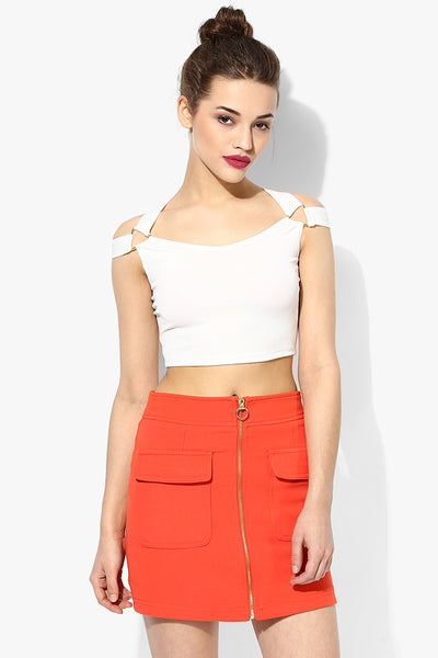 White Metal Detail Crop Top