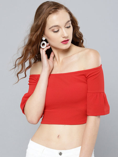 Red Frilled Sleeve Bardot Crop Top1