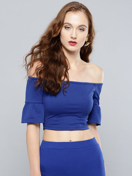 Royal Blue Frilled Sleeve Bardot Crop Top1