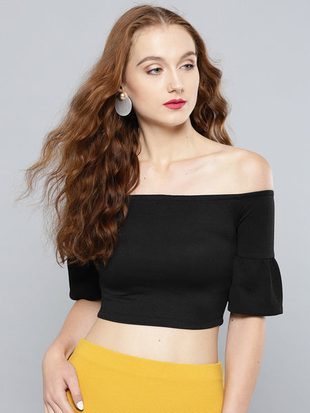 Black Sleeve Frilled Sleeve Bardot Crop Top1