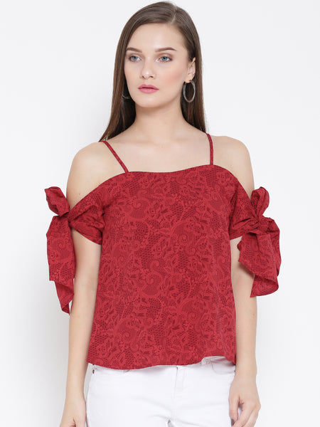 Red Floral Bow Tie Cold Shoulder Top