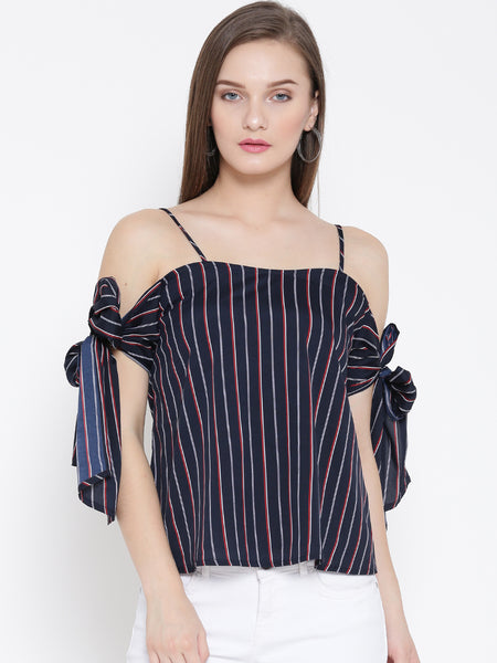 Blue and Red Striped Bow Tie Cold Shoulder Top