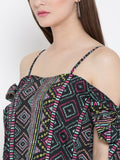 Black Multicolor Geometric Print Bow Tie Cold Shoulder Top5
