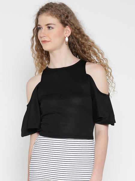Black Flutter Sleeve Cold Shoulder Top
