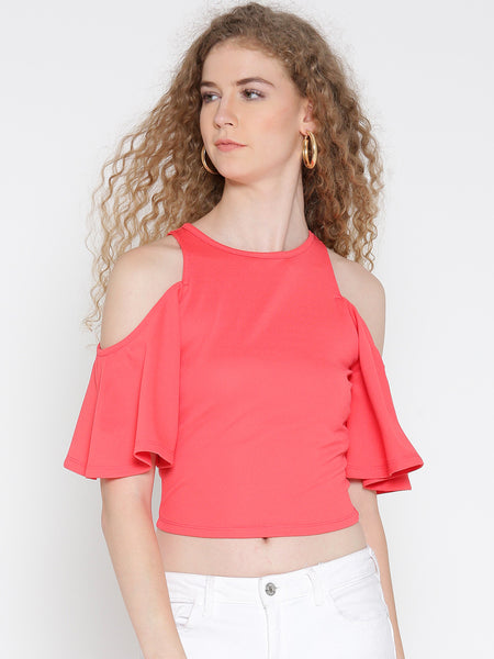 Coral Pink Flutter Sleeve Cold Shoulder Top
