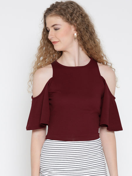 Maroon Flutter Sleeve Cold Shoulder Top