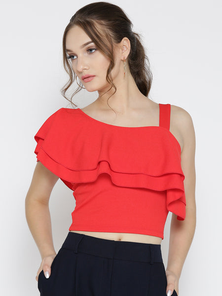 Red One Shoulder Frilled Top