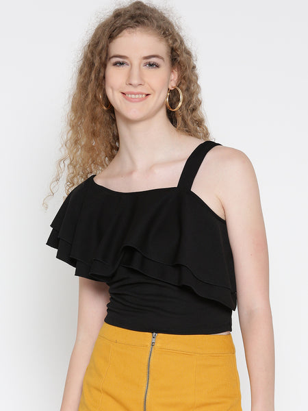 Black One Shoulder Frilled Top