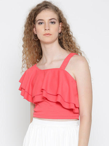 Coral One Shoulder Frilled Top