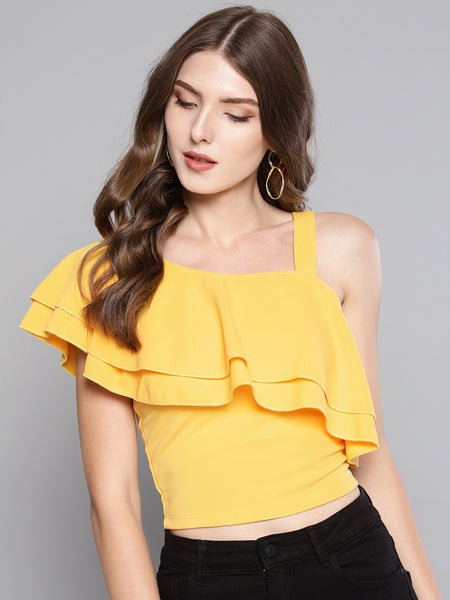 Yellow One Shoulder Frilled Top1