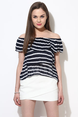 Blue and White Striped Layered Bardot Top1
