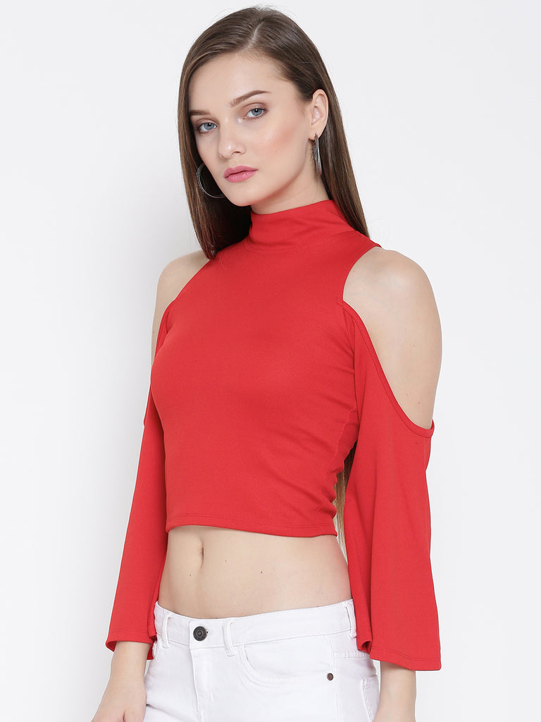 8a9f95c1404ae Red High Neck Cold Shoulder Bell Sleeve Top – Veni Vidi Vici