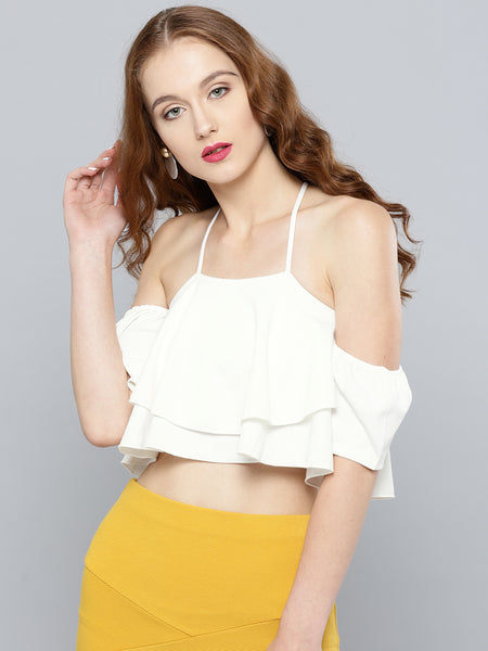 White Layered Frilled Cold Shoulder Top1