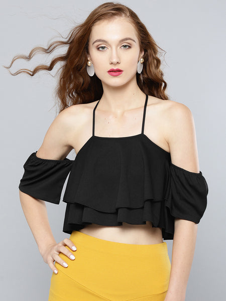 Black Layered Frilled Cold Shoulder Top1