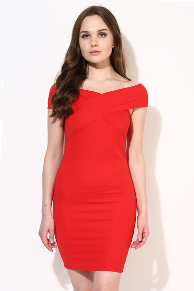 Red Textured Bandage Bardot Dress