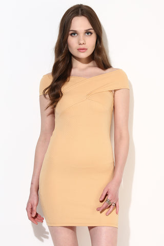 Fawn Textured Bandage Bardot Dress1
